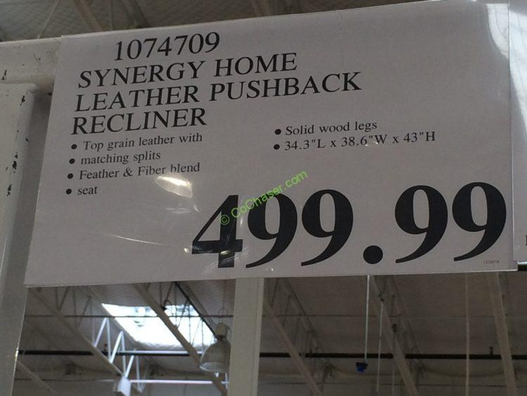 Costco 1074709 Synergy Home Leather Pushback Recliner Tag