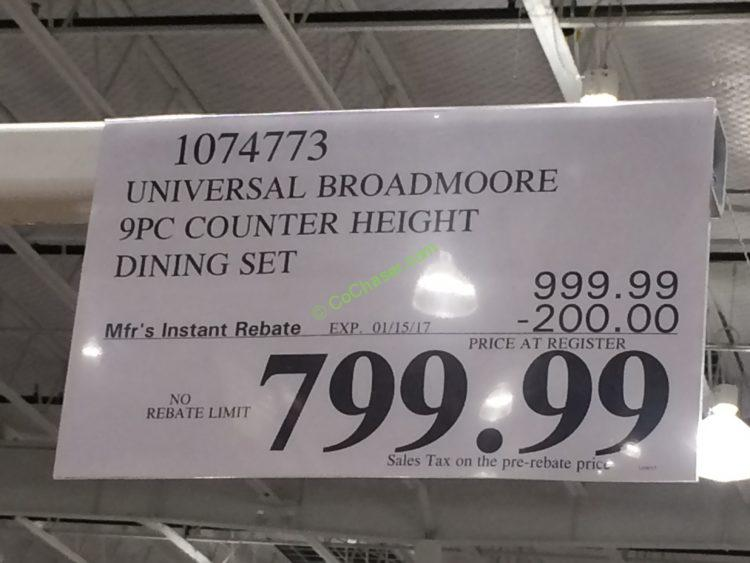 Costco 1074773 Universal Broadmoore 9PC Counter Height Dining Set