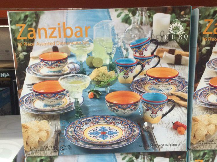 "EURO Ceramica ""ZANZIBAR"" 16PC Dinnerware Set"