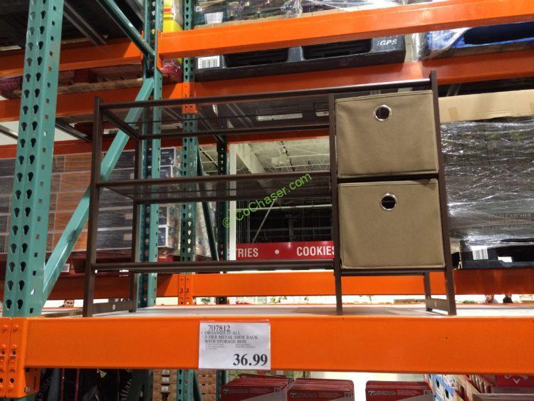 Organize It All 3-Tier Metal Shoe Rack with Storage Bins