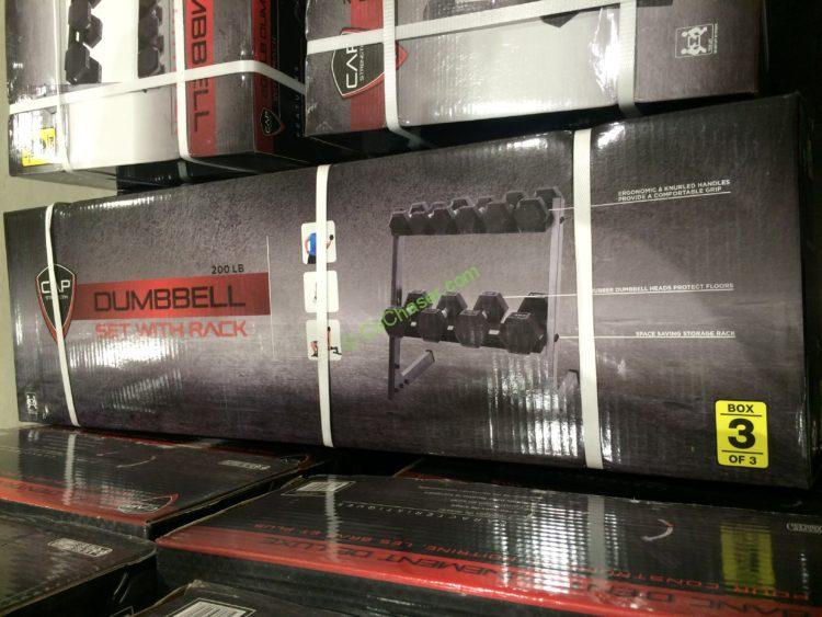 Cap Barbell 200 Lb Dumbbell Set Horizontal Rack
