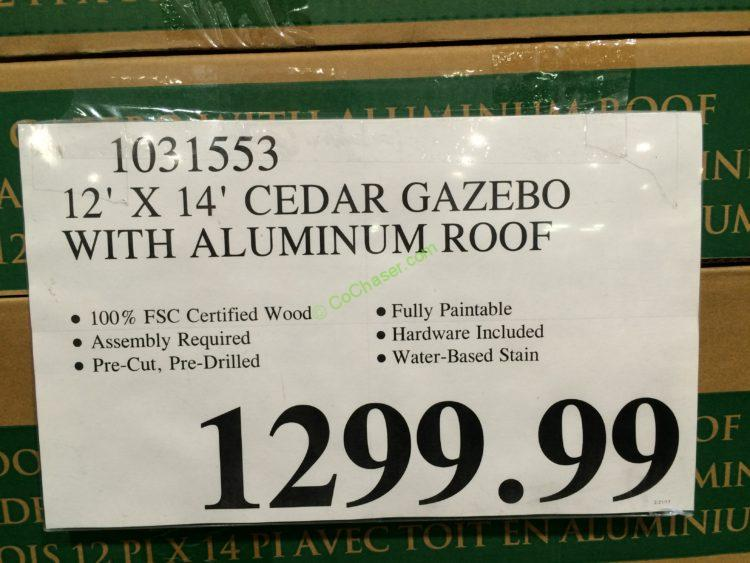 12 X 14 Cedar Gazebo With Aluminum Roof Costcochaser