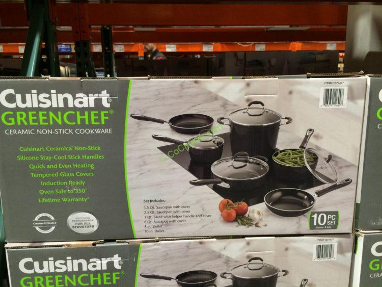 Costco 1077477 Cuisinart Greenchef Nduction Ready Ceramic Non Stick Cookware Set Box Costcochaser