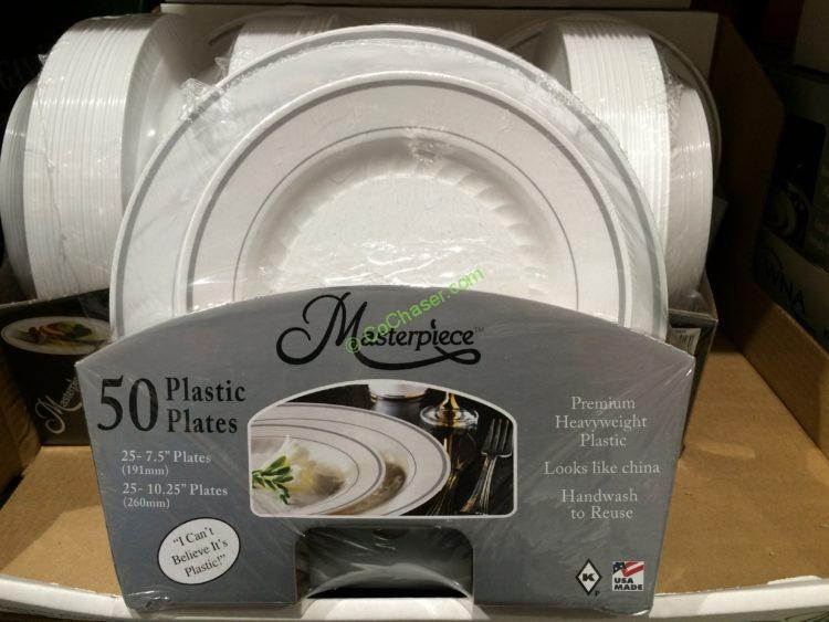 Masterpiece White Plastic Plates 50 Count Package