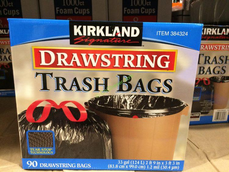 Kirkland Signature 33 Gallon Black Drawstring Trash Bags 90 Count Box