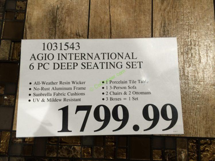 Agio International 6pc Deep Seating Set Costcochaser