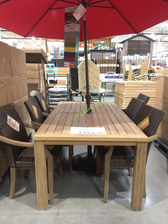 7PC Teak Dining Set with Woven Stacking Arm Chairs