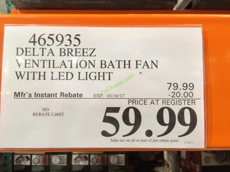 Delta Breez Vfb80hled2 Ventilation Bath Fan With Led Light