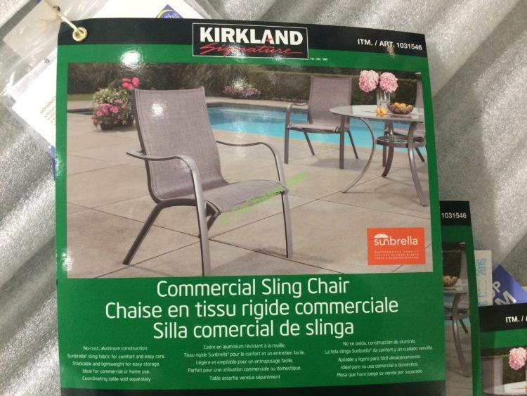 Costco 1031546 Kirkland Signature Sling Chair Spec
