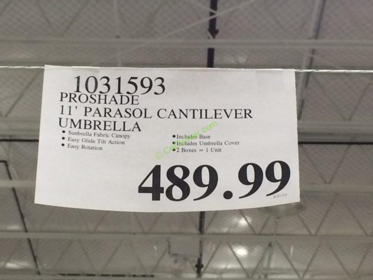 Costco 1031593 11 Cantilever Patio Umbrella With Base