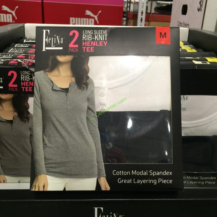 Felina Ladies Henley Long Sleeve Tee 2PK