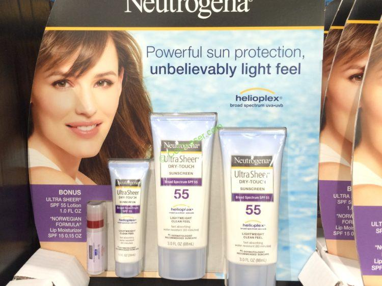 Neutrogena Ultra Sheer Sunscreen Lotion SPF 55,2-pack 3.0 oz. with Lip Balm