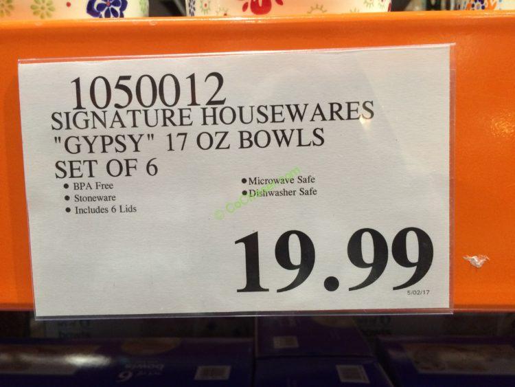 Signature Housewares Gypsy 17 Oz Bowls Set Of 6 Costcochaser