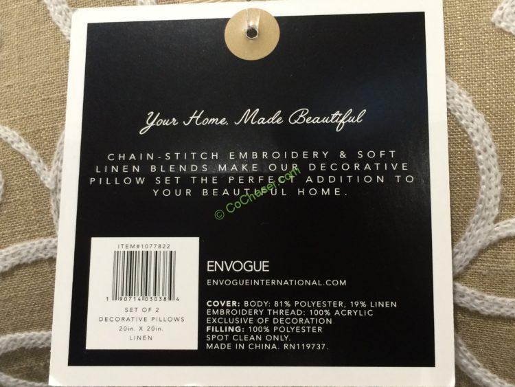Envogue Home Decorative Pillow 2 Pack Costcochaser