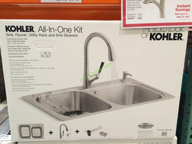 Kohler Stainless Steel Sink and Faucet Package, Model#R75791-2PC ...