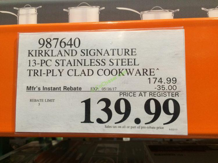 Costco 987640 Kirkland Signature 13pc Stainless Steel Tri