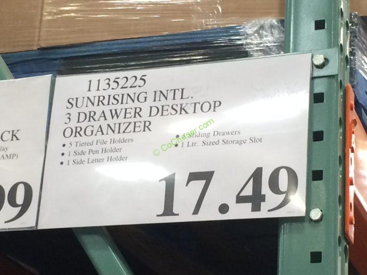Costco 1135225 Sunrising International 3drawer Desktop Organizer Tag