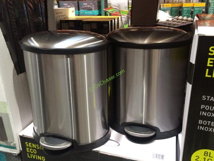 Sensible Eco Living 8l Stainless Steel Step Trash Can 2 Pk