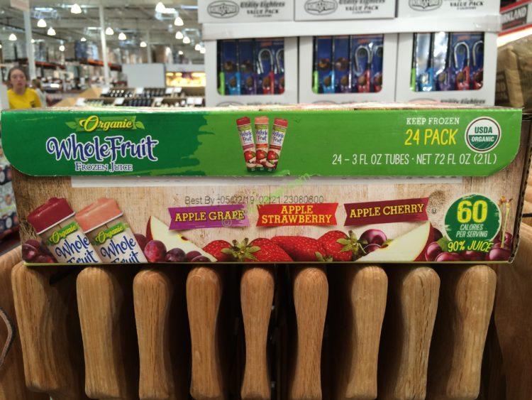 Whole Fruit Organic Frozen Juice 24/3 OZ Tubes