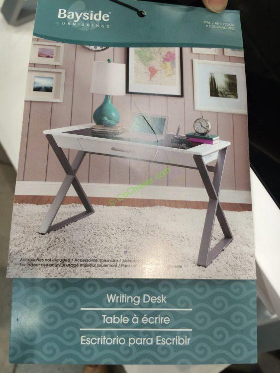 Costco 722459 Bayside Furnishings White Wood Desk Pic