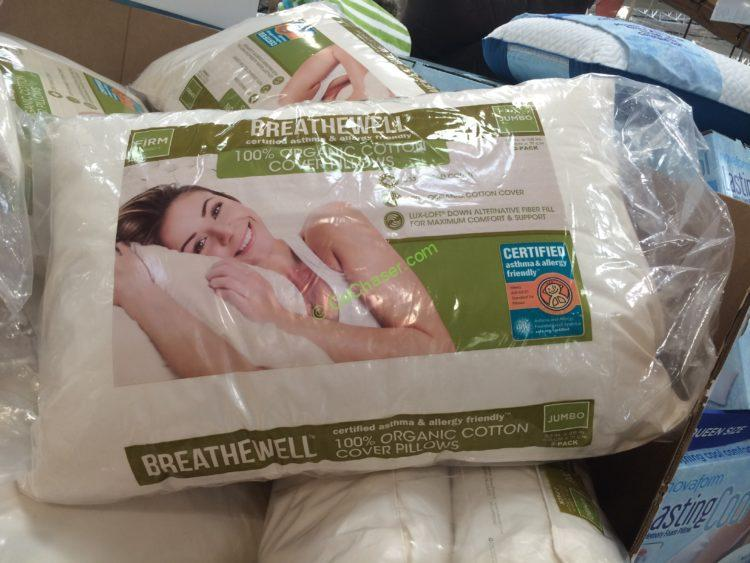 breathewell organic cotton cover jumbo pillow 2 pack – costcochaser Costco Pillows