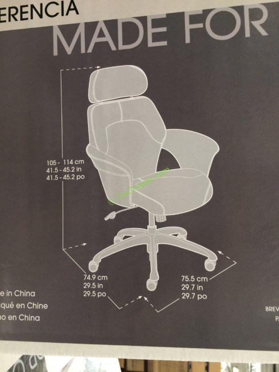 Costco 1140950 True Innovations Fabric Executive Chair Size