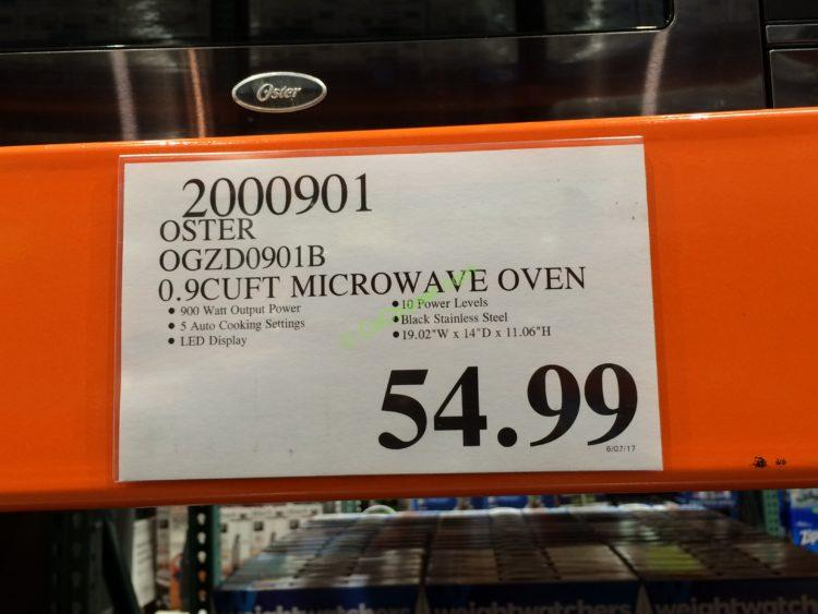 Costco 2000901 Oster 0 9 Cuft Microwave Oven Tag