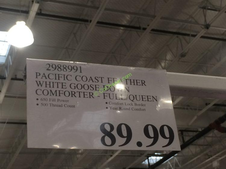Costco 2988991 Pacific Coast Feather White Goose Down Comforter Tag