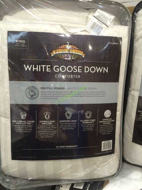 Costco 2988992 Pacific Coast Feather White Goose Down Comforter Inf