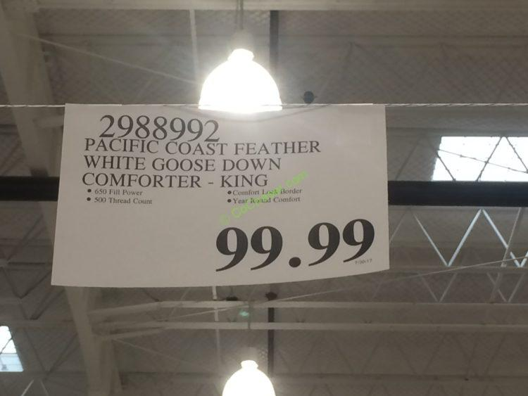 Costco 2988992 Pacific Coast Feather White Goose Down Comforter Tag