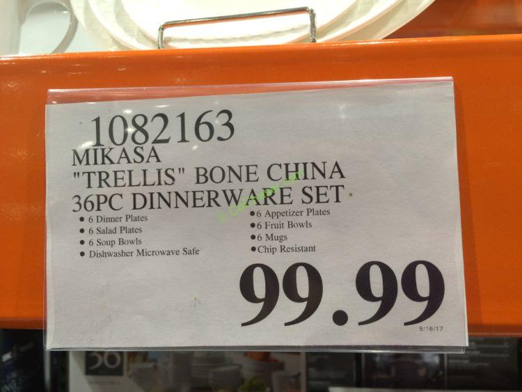 Costco 1082163 Mikasa Trellis Bone China 36pc Dinnerware
