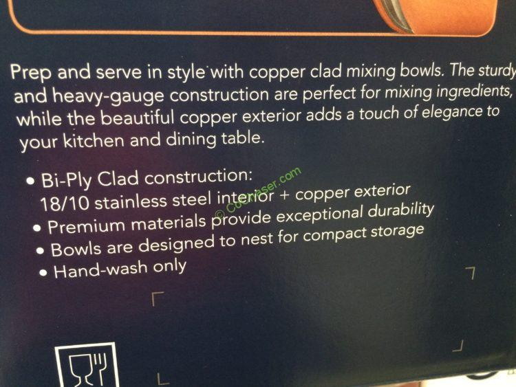 Costco 1159611 Tramontina 3pk Copper Clad Mixing Bowl Set