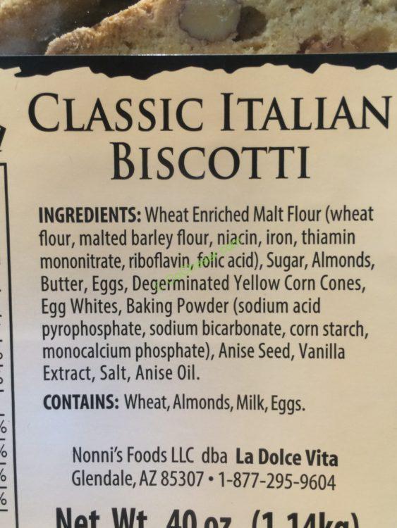 Costco 219854 La Dolce Vita Italian Biscotti Ing