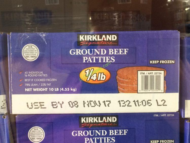 Kirkland Signature Ground Beef Patties 10 Pound Box