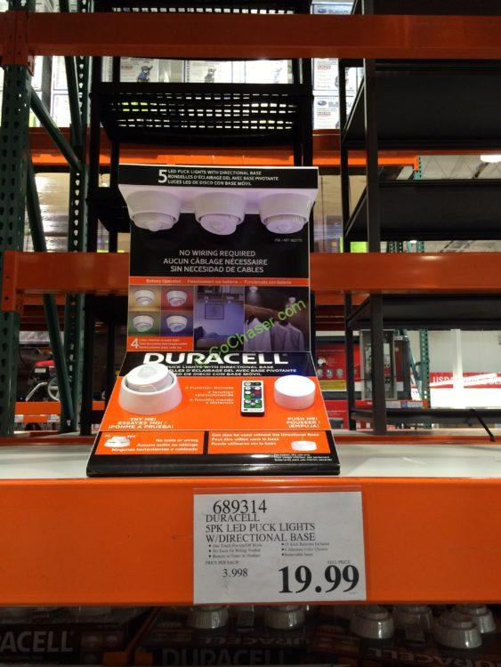 Duracell 5PK LED PUCK Lights with Directional Base