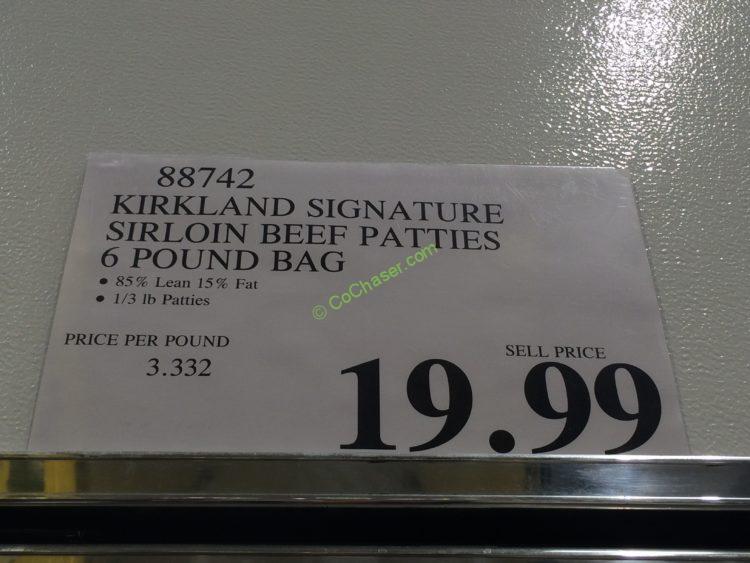 Costco 88742 Kirkland Signature Ground Beef Patties Tag