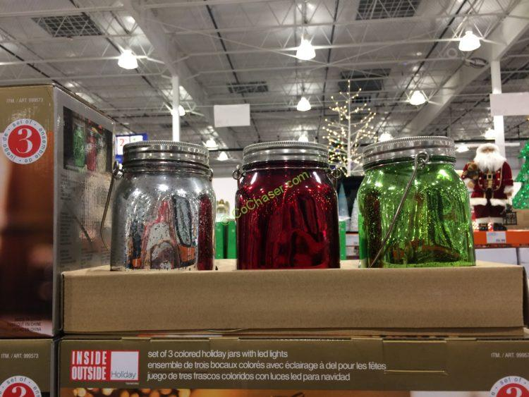 Holiday Jars with LED Lights, Set of 3