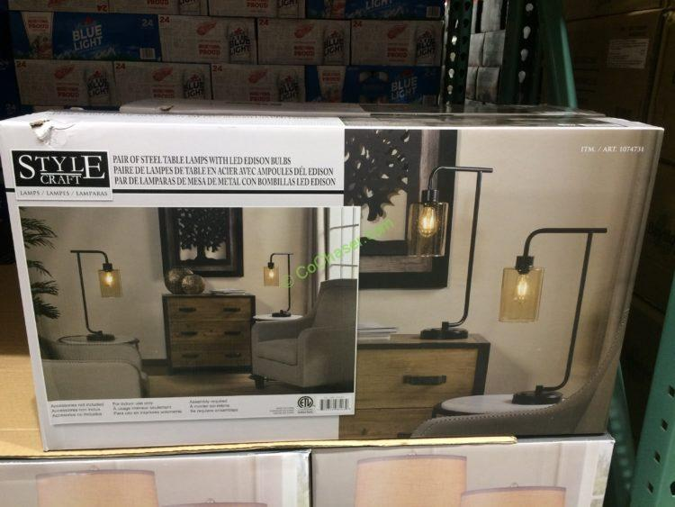 Costco 1074731 Stylecraft Collection 2PK Table Lamps Box