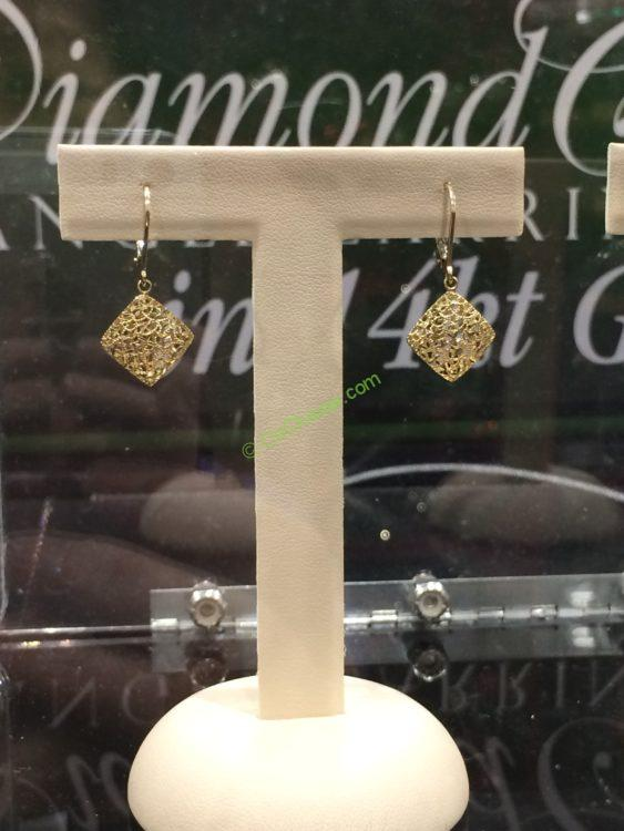 14kt Yellow Gold Diamond Cut Dangle Earrings