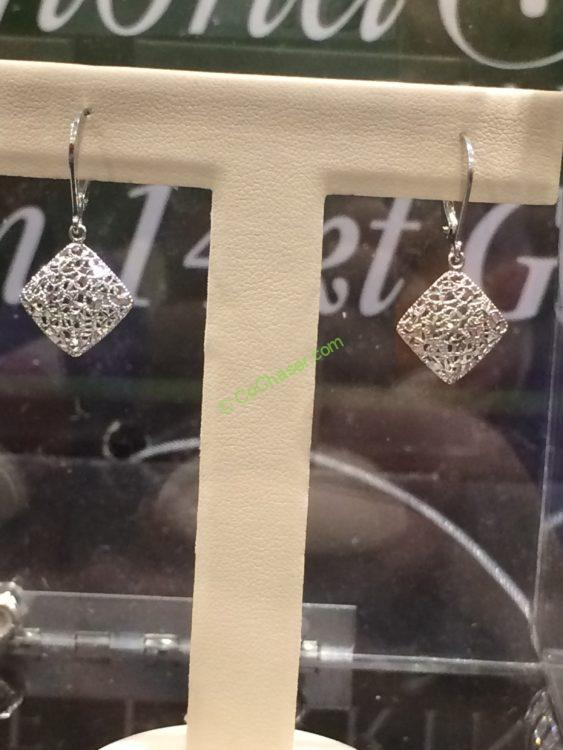 14kt White Gold Diamond Cut Dangle Earrings Costcochaser