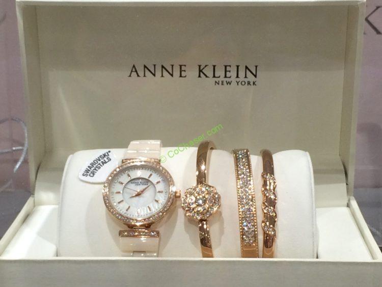 Anne Klein New York Rose Tone & Ceramic Ladies Watch Set