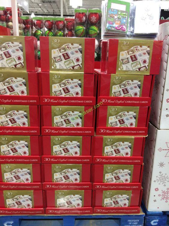Hand Crafted Christmas Cards Set, 30-count