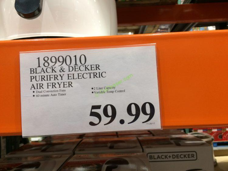 Costco 1899010 Black Decker Purifry Electric Air Fryer Tag