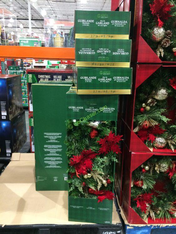 CG Hunter 9' Decorated Garland with LED Lights