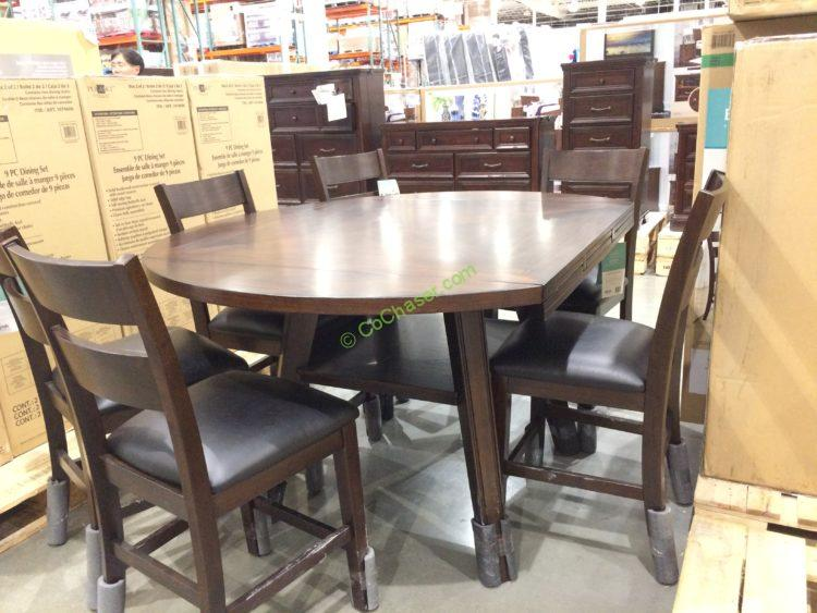 Bayside Furnishings 7pc Square To Round Counter Height Set