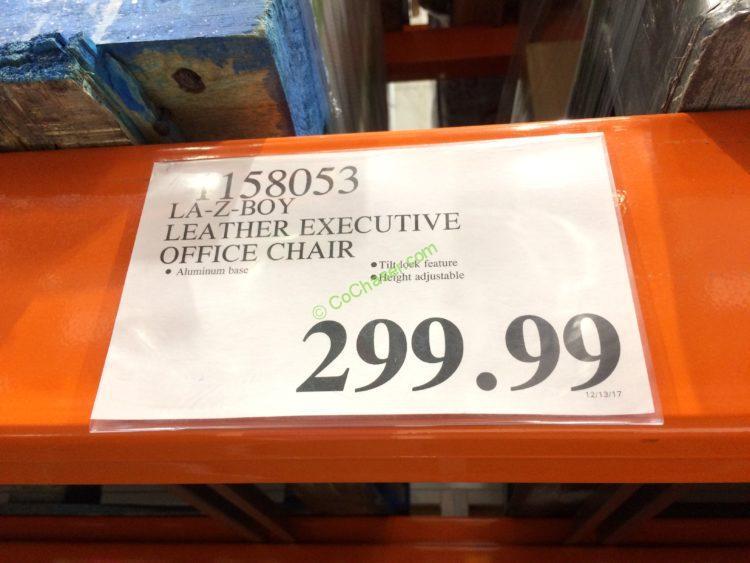 Costco 1158053 La Z Boy Leather Executive Office Chair