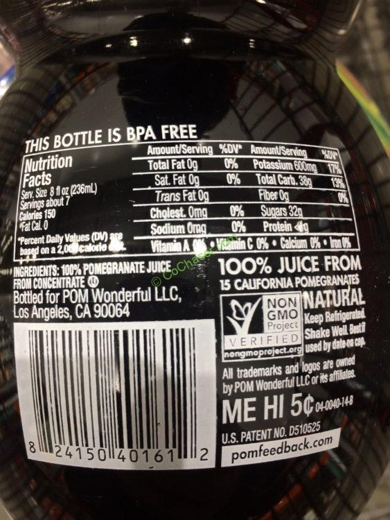 Pom Juice Nutrition Label - Trovoadasonhos