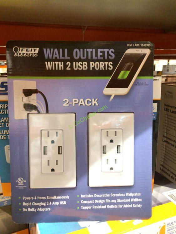 Feit Electric Wall Receptacle with USB Ports 2PK