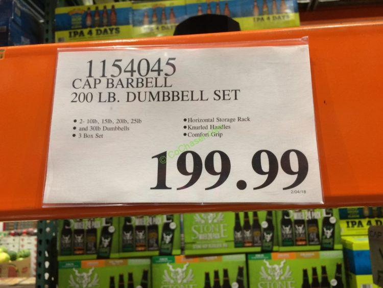 Costco-1154045-CAP-Barbell-200LB-Dumbbell-Set-Horizontal-Rack-tag