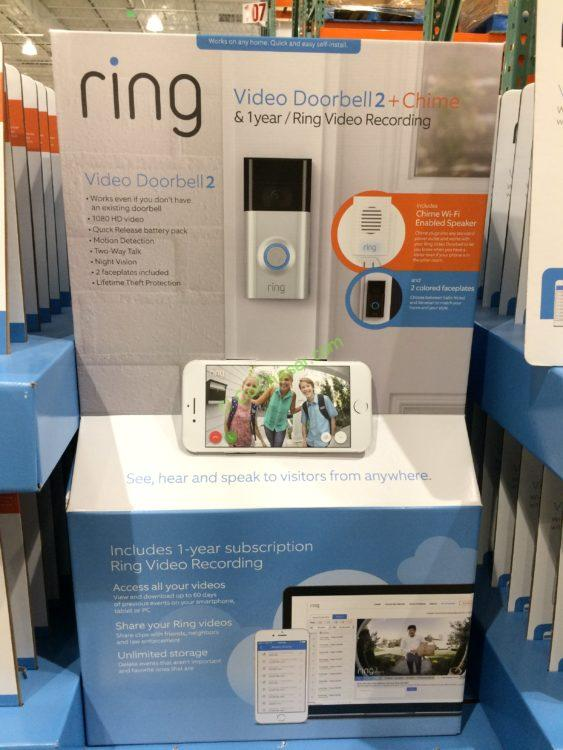 Ring Video Doorbell 2 with Chime & 1 Year Cloud Video Serve